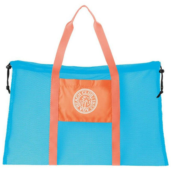 AQA Club Flipper KB-8073 Mesh Tote Bag- Ice Blue/ Pink