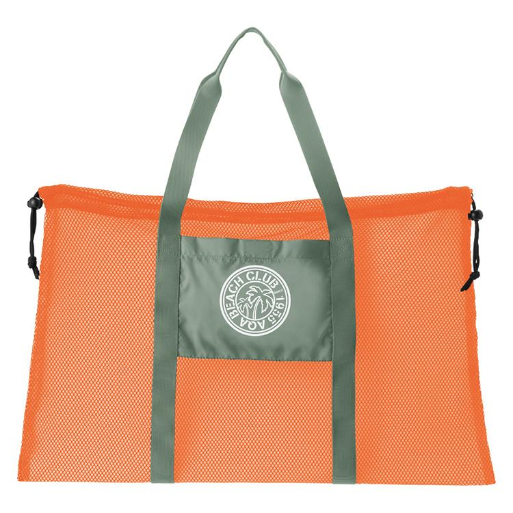 AQA Club Flipper KB8073A Mesh Tote Bag- Orange/Khaki