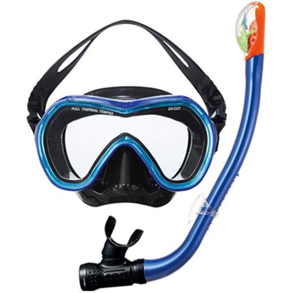 AQA KZ-9001 Orca Soft & Sammy Dry Special Silicon Mask & Snorkel Set- Mt Navy/ Crystal Blue