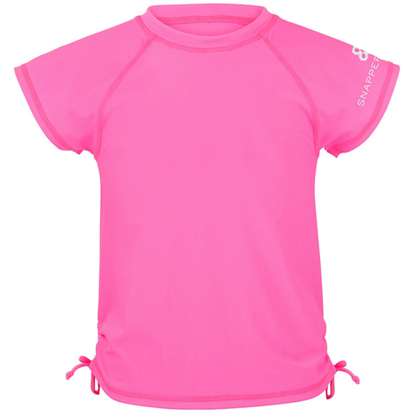 Snapper Rock 181 Girls Short Sleeves Rash Top Neon Pink
