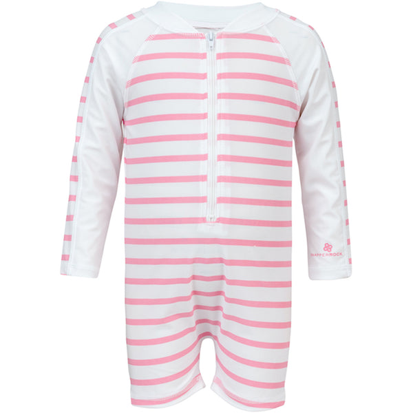 Snapper Rock Toddlers Sunsuit Long Sleeves 746- French Pink Stripes
