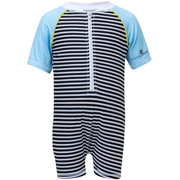 Snapper Rock B70804S Black/White Stripe Ss Sunsuit- Zebra Crossing