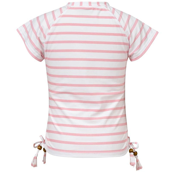 Snapper Rock G10099S Pink/White Stripe Short Sleeve Rash Top