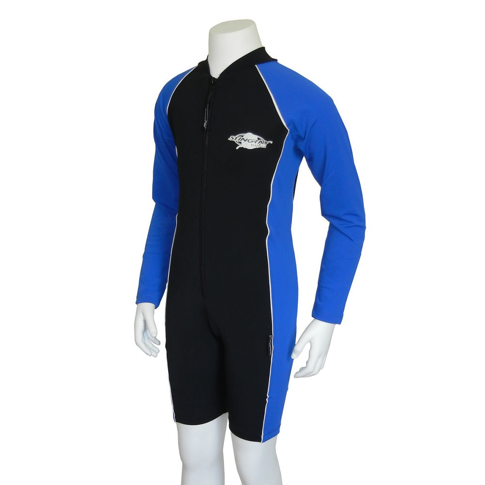 Stingray Youth Raysuit Long Sleeves ST3002L- Black/ Ocean Blue