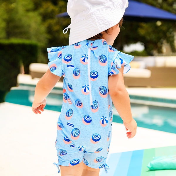 Snapper Rock French Riviera Flutter Sleeve Sunsuit G70810S- Blue