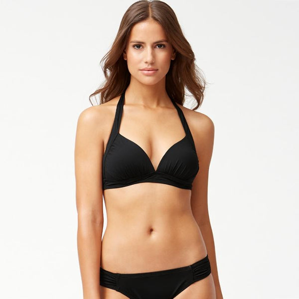 Tommy Bahama Halter Cup Bra TSW31004T- Pearl Solids Black