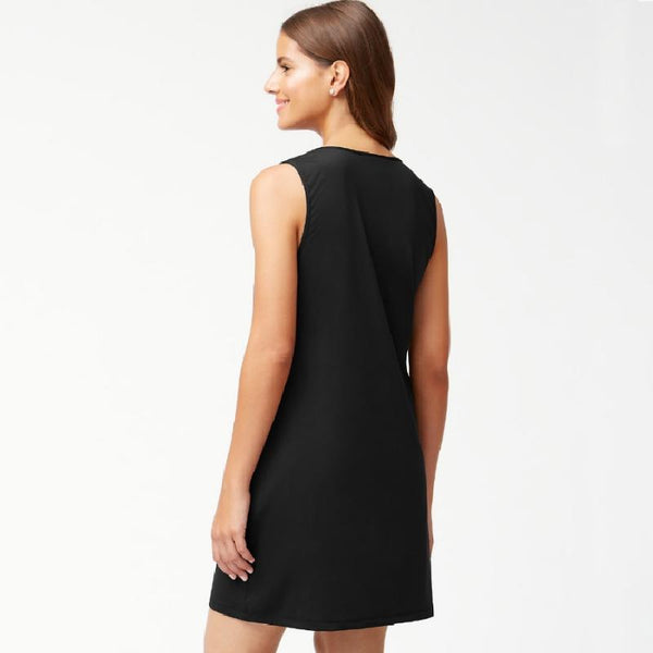 Tommy Bahama Split Neck Swim Dress TSW31033C- Pearl Solids Black