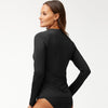 Tommy Bahama Long Sleeve Half Zip Rash Guard TSW80109C- Pearl Solids Black