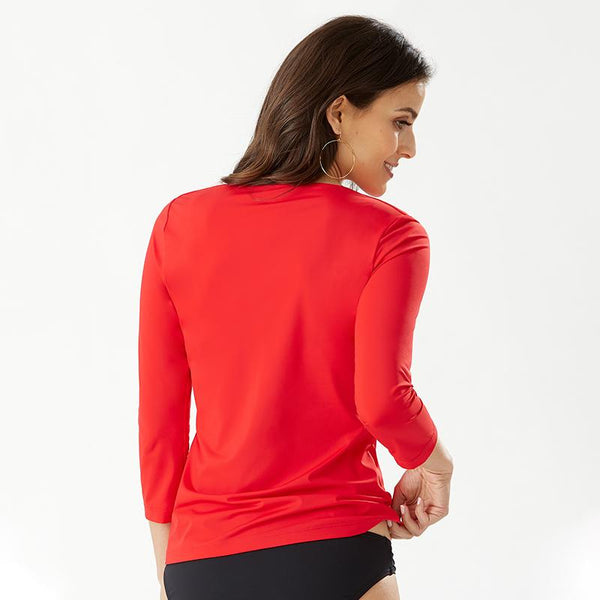 Tommy Bahama Twist Front Rash Guard 3/4 Sleeve TSW10470C - Pearl Solids Air Kiss Red