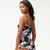 Tommy Bahama TSW80705T Over-The-Shoulder Faux Tie Front Tankini Ginger Flowers- Black/White