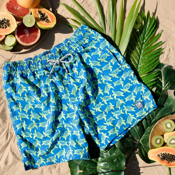 Tom & Teddy Turtle Swim Shorts TURBL- Blue & Lime