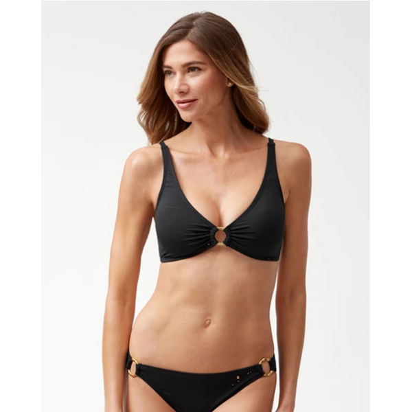 Tommy Bahama OTS Bra with Ring TSW70160T- Pearl Solids Black