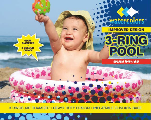 Watercolors Inflatable Baby Pool 65cm WB8251- Pink