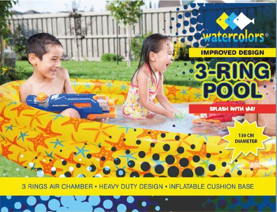 Watercolors Inflatable Kids Pool 130cm WB8252