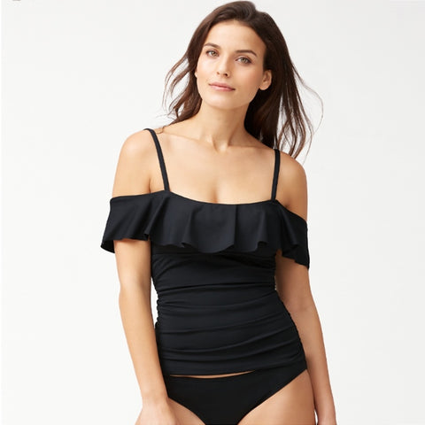 Tommy Bahama Off The Shoulder Flounce Tankini TSW90121T- Novelty Pearl Solids Black