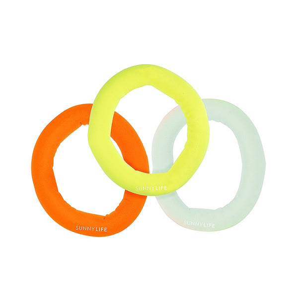 Sunnylife Catch Me Dive Rings Neon- Multi Set Of 3 S1VRINNE