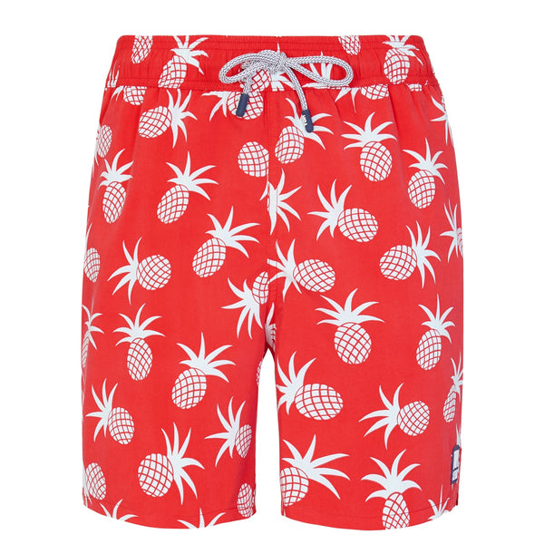 Tom & Teddy Mens Pineapple Swim Shorts PINBC- Blue & Crimson