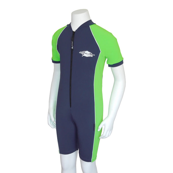 Stingray Youth Raysuit Short Sleeves ST3002- Navy/Lime