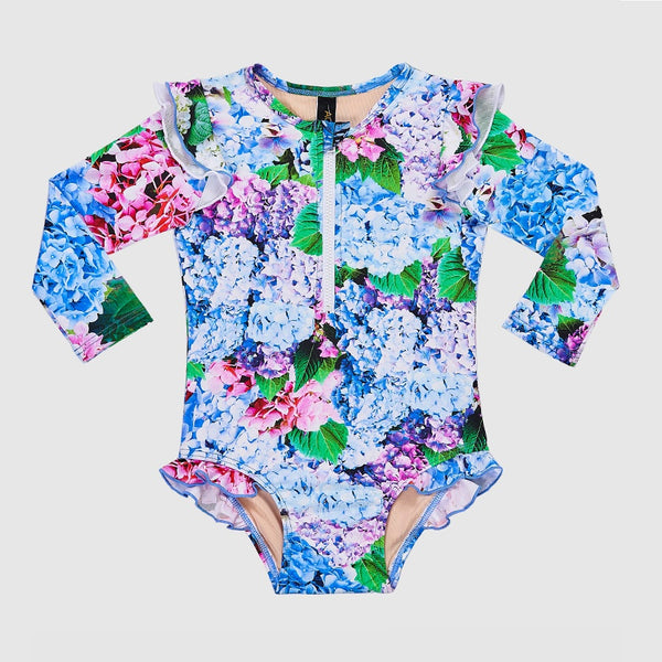 Aqua Blu Flutter Long Sleeve One Piece AG2012BL- Blossom