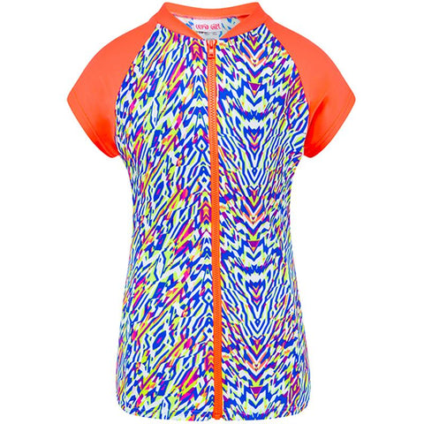 Cupid Girl 101717 Zip Rash Vest Short Sleeves Neon Tribe