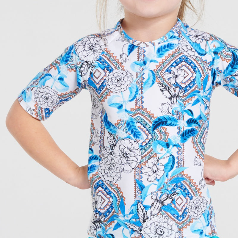 Aqua Blu Jr Short Sleeve Rash Vest AG9044WE- Wedgewood