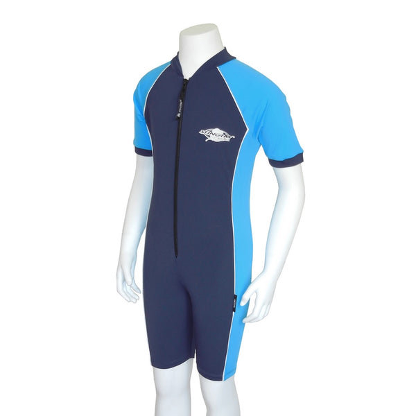 Stingray Youth Raysuit Short Sleeves ST3002- Navy/ Azure