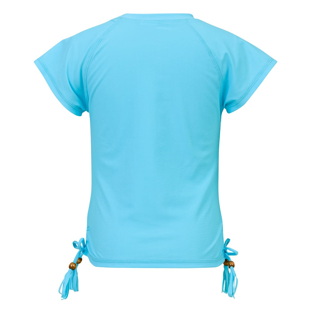 Snapper Rock G10103S Girls Short Sleeves Rash Top Light Blue