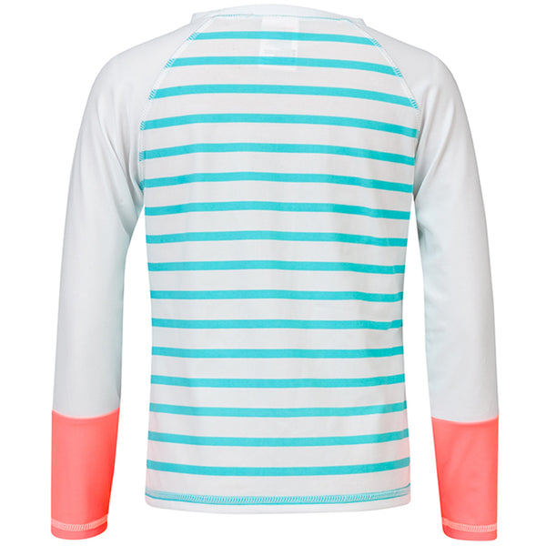 Snapper Rock G20050L Girls Long Sleeves Rash Top Neon Coral/ Aqua Stripe
