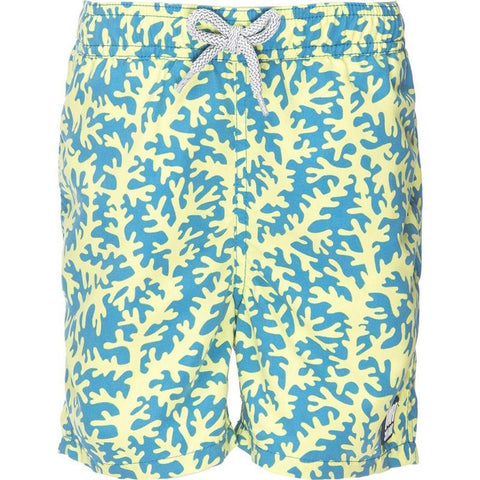 Tom & Teddy CORBL-J Boys Coral Swim Shorts-Blue & Lime