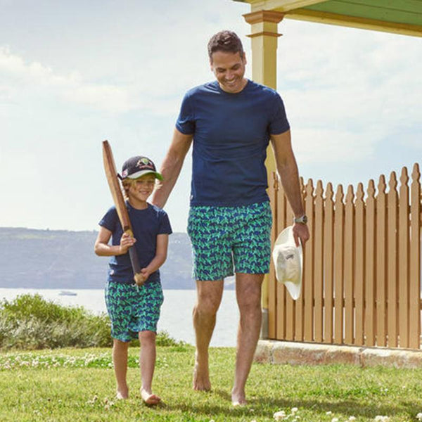 Tom & Teddy Mens Turtle Swim Shorts TURNG- Navy & Green