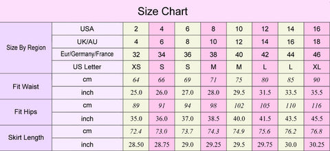 Mermaid Skirt SizeChart