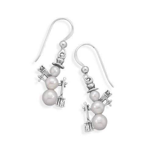 Cultured Freshwater Pearl Snowman Earrings
