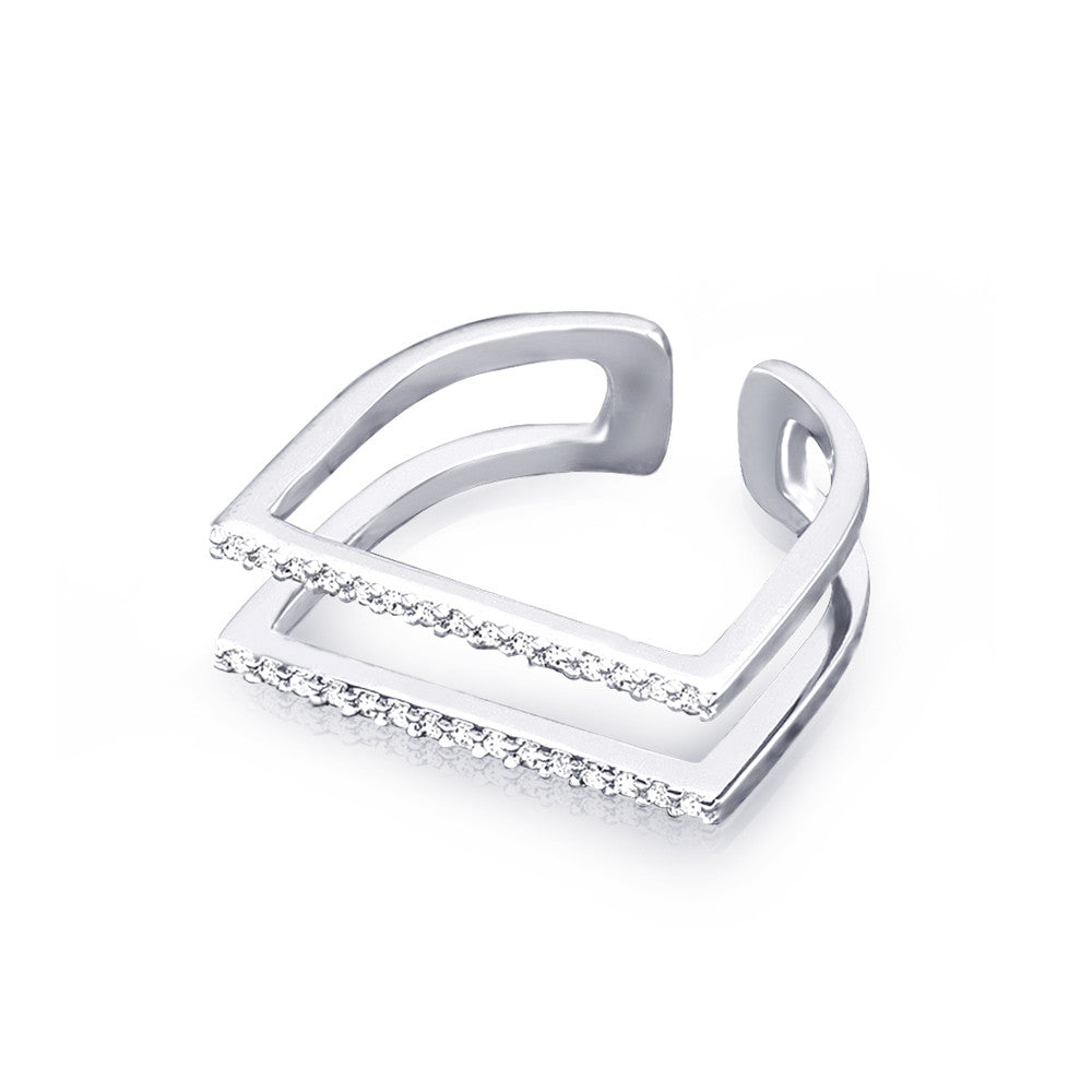 Samie Collection Rhodium Plated Pav/é CZ Open Duo Band Ring