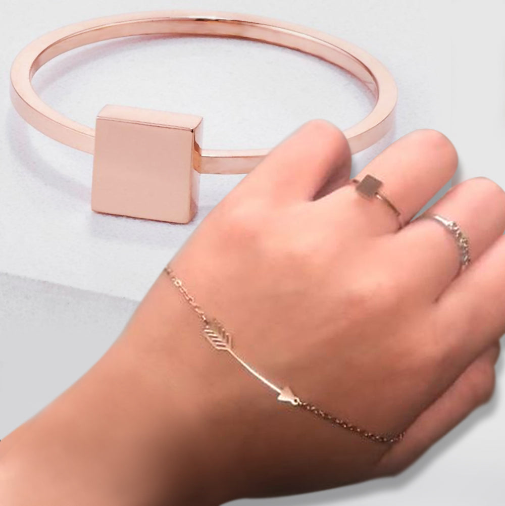 Samie Collection Stainless Steel Square Stackable Ring in Rose Gold