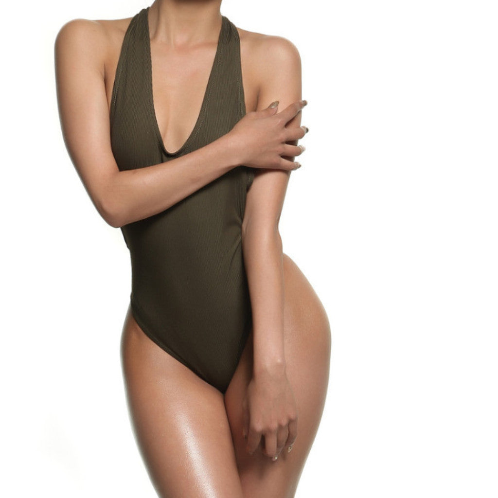 RIBBED OLIVE BODYSUIT