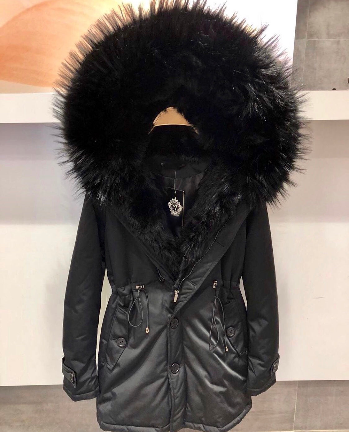 FUREVER PLUSH COAT (BLACK)