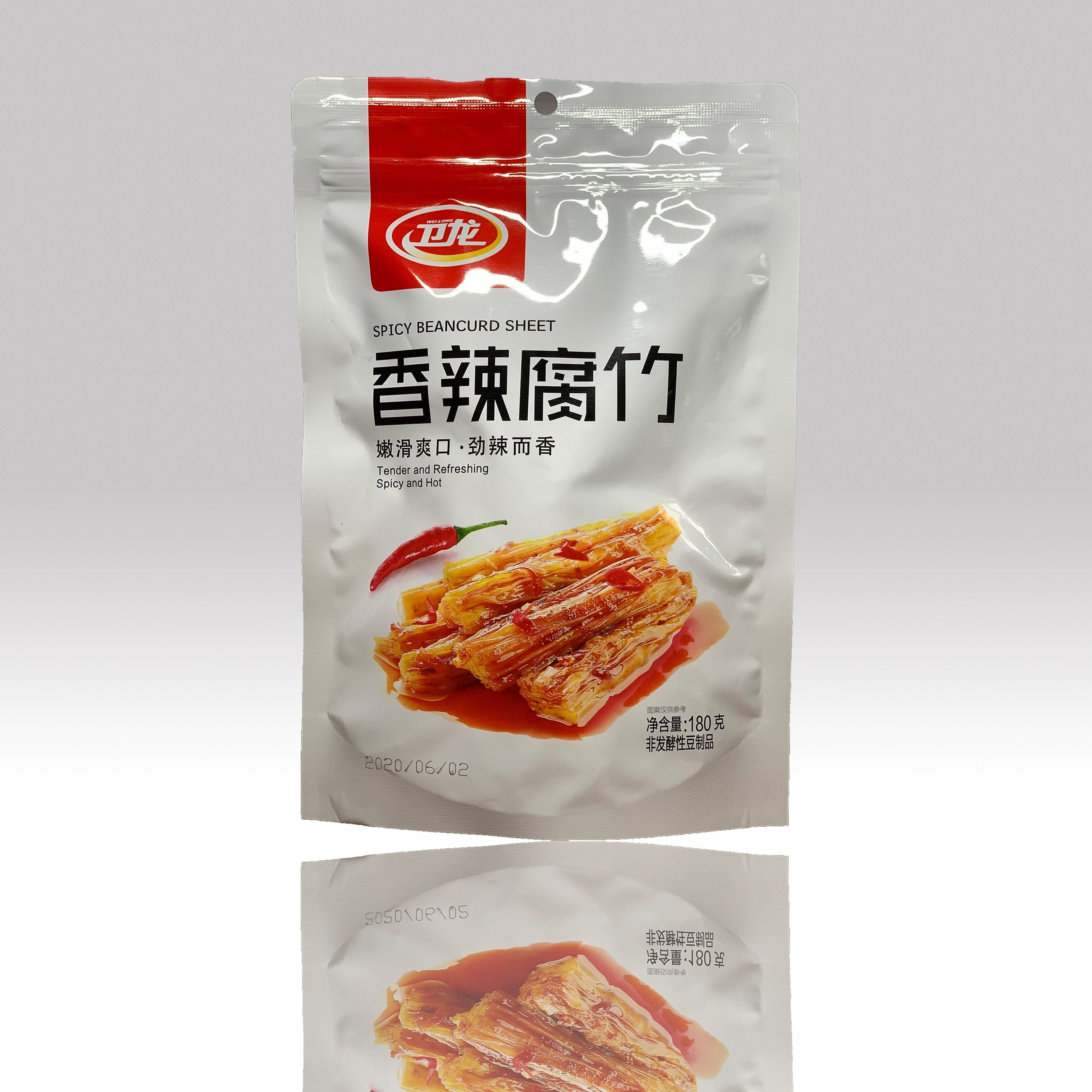卫龙 香辣腐竹 180g, WeiLong Spicy Beancurd Sheet 180g