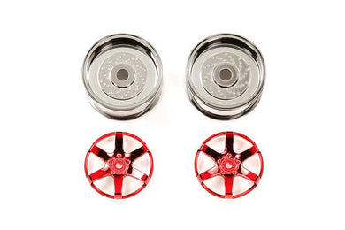 TAMIYA 54551 RC Red Plated 2pc 6 Sp Wheels - 26mm Width / Offset +2