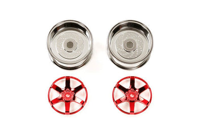 TAMIYA 54553 RC Red Plated 2pc 6 Sp Wheels - 26mm Width / Offset +6