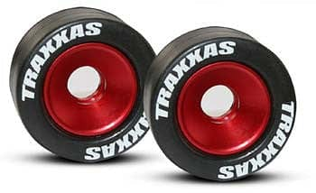 TRAXXAS 5186 Mntd Wheelie Bar Tires/Whls Red (2) - RUI YONG HOBBY