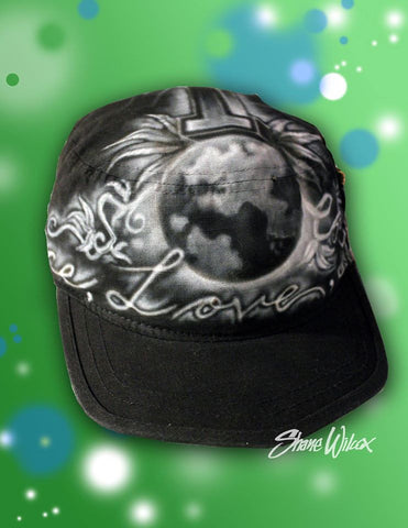 Airbrushed Hat - Peace, Love & Light