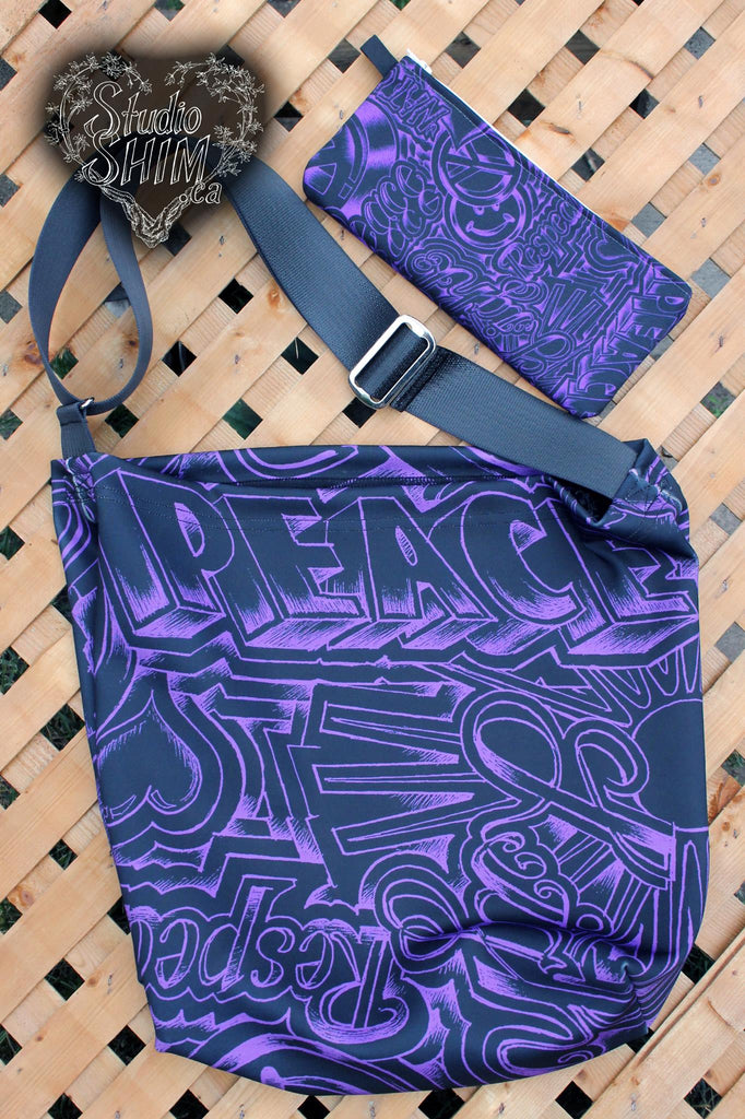 Peace & Love Day Tote - Purple
