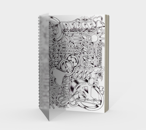 PEACE & LOVE Spiral Journal, white