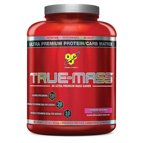 BSN, True Mass Weight Gainer (Strawberry Milkshake), 2.63kg (5.8lbs)