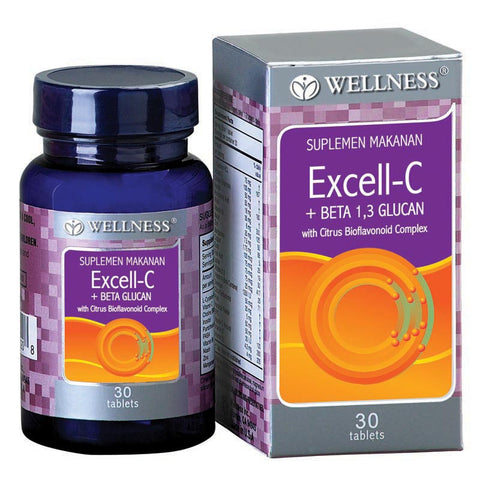 Wellness, Excell - C + Betaglucan, 30 Tabs