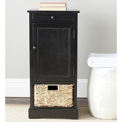 Rustic End Table Distressed Black Tall Storage Unit