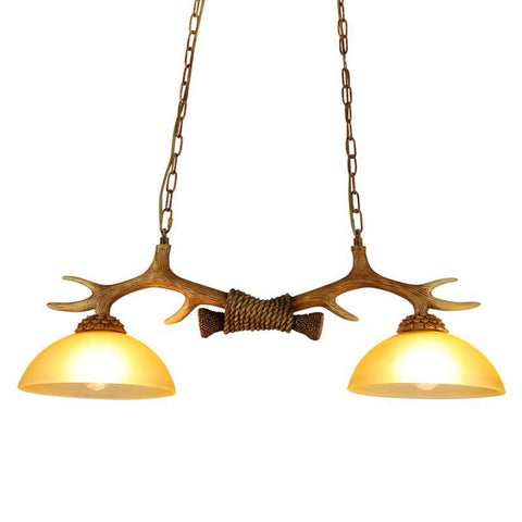 2 Lamps Antler Kitchen Island Pendant Lights