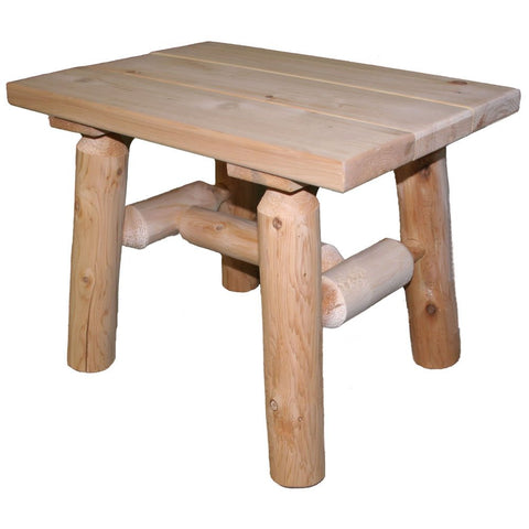 Rustic Cedar Log End Table with Natural Finish