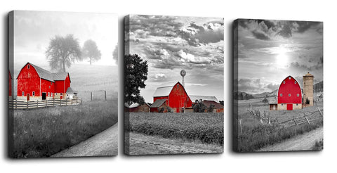 Canvas Wall Art Rustic Farm Red Barn
