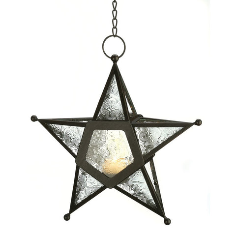 Rustic Clear Star Candle Lantern Black Iron & Glass